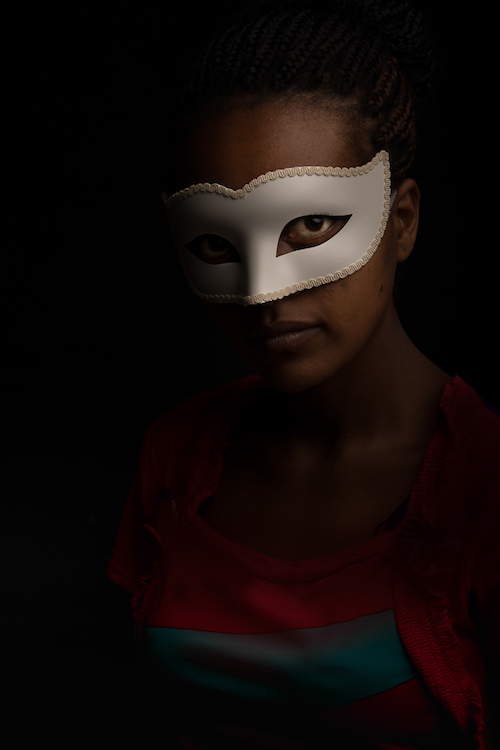 Matilde Simas HAART Kenya 1632 Photographers Without Borders Masked Portrait Series- 8 young women, ages 13-16, from 4 different nationalities who have been rescued from the horrors of the trafficking world and are in the healing process.